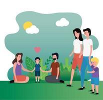 grupo de padres con niños en el parque