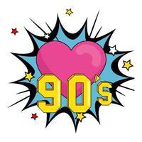 cartel de los noventa con corazón en explosión de arte pop