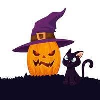 halloween pumpkin with cat and witch hat vector