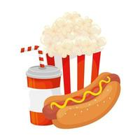 delicious hot dog with drink and popcorn fast food icon vector