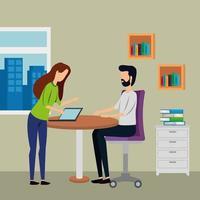 elegante pareja de trabajadores en la oficina