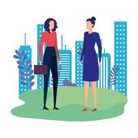 elegant businesswomen workers in the park