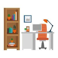 escena de lugar de trabajo de oficina con escritorio vector