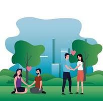 cute lovers couples on the park characters vector