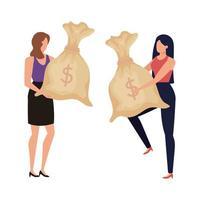 mujeres jóvenes con personajes de sacos de dinero