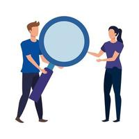 young couple with magnifying glass characters vector