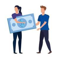 pareja joven con billetes de dólares personajes