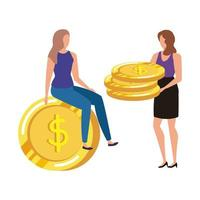 young women with coins dollars characters
