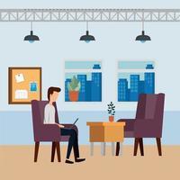 elegant businessman worker in the office scene