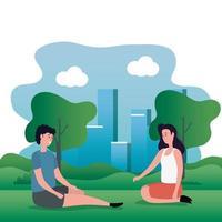 linda pareja de amantes sentados en los personajes del parque vector