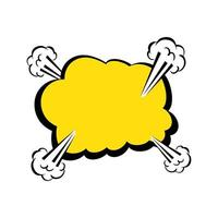 cloud explosion yellow color pop art style icon