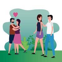 amantes lindos parejas en los personajes del parque vector