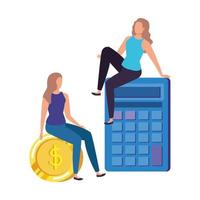 young women with calculator characters