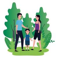 parents couple with little son on the park characters vector