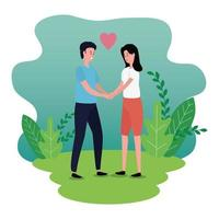 cute lovers couple on the park characters vector