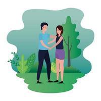 linda pareja de amantes en los personajes del parque vector