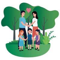 pareja de padres con niños en el parque