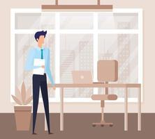 trabajador empresario elegante en la escena de la oficina vector