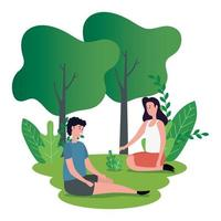 cute lovers couple seated on the park characters vector