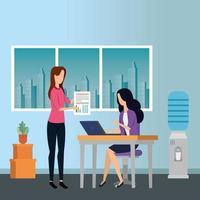 elegant businesswomen workers in the office