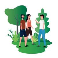 group of people on the park characters vector