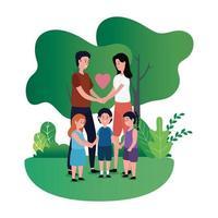 pareja de padres con niños en el parque vector
