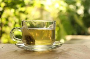 Cup of tea outside photo