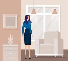 elegante, mujer de negocios, trabajador, en, sala