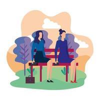 elegantes empresarias sentadas en la silla del parque vector