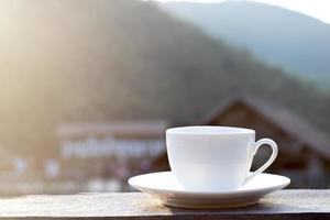 White mug with beautiful background