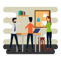 elegant business people working in the office vector