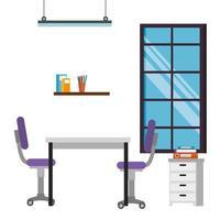 iconos de escena de lugar de trabajo de oficina vector