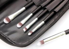 Makeup brushes in a bag