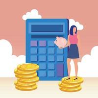 mujer joven, con, calculadora, y, dinero