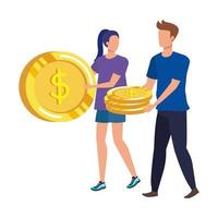 young couple with coins money avatars characters