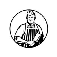 Carnicero con cuchillo de carnicero vista frontal en círculo xilografía en blanco y negro vector