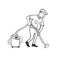 Commercial Carpet Cleaner Worker Vacuuming with Vacuum Cartoon Black and White vector