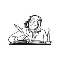 Benjamin Franklin American Polymath and Founding Father of the United States Writing Retro Black and White vector