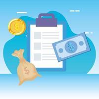 monedas dinero dólares con lista de verificación y facturas