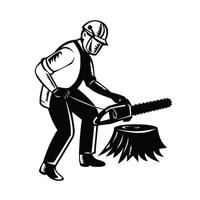 Arborist Tree Surgeon Holding Chainsaw Cutting Tree Stump Black and White vector