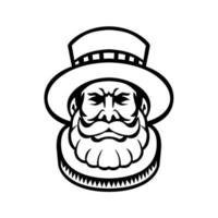 Beefeater Yeomen of the Guard or Yeoman Warder Head Mascot Black and White vector