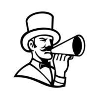 Cabecilla de circo o maestro de ceremonias con mascota megáfono en blanco y negro vector