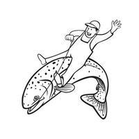 Trout Fisherman Riding Steelhead or Rainbow Trout Retro Stencil Black and White vector