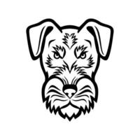 Head of Angry Jagdterrier Hunting Terrier or German Hunt Terrier Mascot Black and White vector