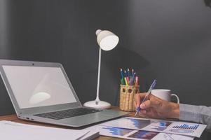 Laptop mock-up in office