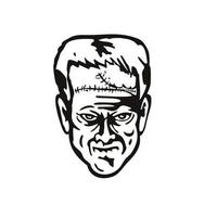 Head of Doctor Victor Frankenstein's Monster Front View Stencil Black and White Retro Style vector
