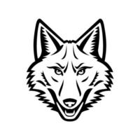 Head of a Coyote Front View Mascot Black and White vector