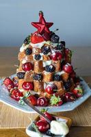Pandoro fruit cream cake photo