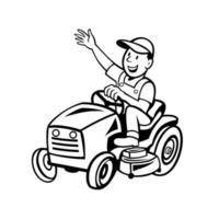Farmer Riding Ride-on Mower Waving Hand Cartoon Black and White vector
