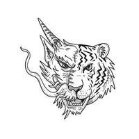 cabeza de mitad dragón chino mitad tigre de bengala dibujo de vista frontal vector